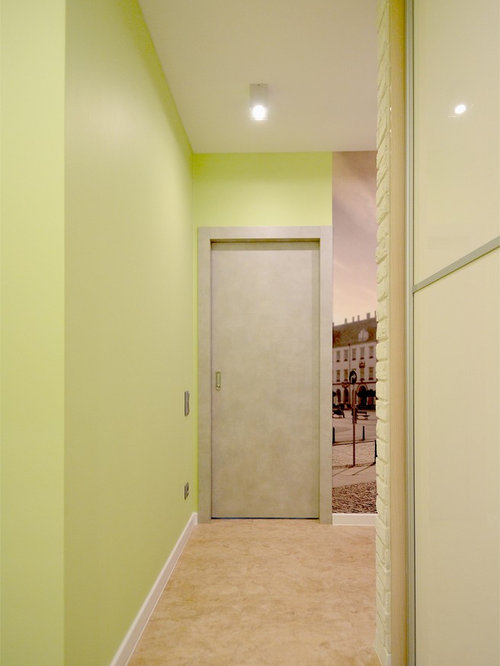 Hallway with Vinyl Flooring and Green Walls Ideas & Designs
