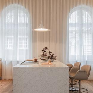 Nordische Küche mit flächenbündigen Schrankfronten, hellen Holzschränken, Küchenrückwand in Weiß, hellem Holzboden, Kücheninsel, beigem Boden, weißer Arbeitsplatte und Marmor-Arbeitsplatte in Frankfurt am Main