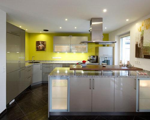 Green kitchen design ideas renovations amp photos with slate flooring