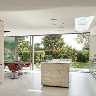 Zweizeilige Moderne Wohnküche mit flächenbündigen Schrankfronten, grauen Schränken, Betonboden, Kücheninsel, grauem Boden und grauer Arbeitsplatte in Frankfurt am Main