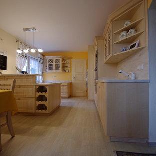 フランクフルトのカントリー風おしゃれなキッチン (一体型シンク、インセット扉のキャビネット、淡色木目調キャビネット、人工大理石カウンター、マルチカラーのキッチンパネル、黒い調理設備) の写真