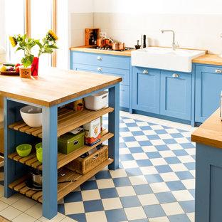 Blaue Shaker Küche