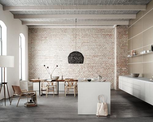 k chen mit metallicfarbener k chenr ckwand und laminat arbeitsplatte ideen bilder houzz. Black Bedroom Furniture Sets. Home Design Ideas