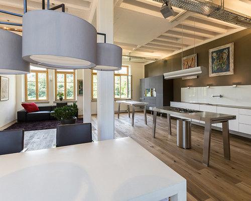 Küche Mit Edelstahl Arbeitsplatte küchen mit edelstahl arbeitsplatte ideen design bilder houzz