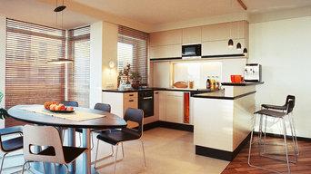 der offene Ess- und Kochbereich mit U-Küche