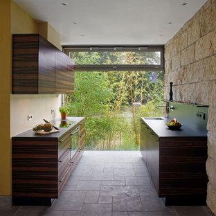 Cette image montre une petite cuisine parallèle asiatique fermée avec un évier encastré, un placard à porte plane, des portes de placard en bois sombre, aucun îlot, un électroménager en acier inoxydable, une crédence jaune et un sol en brique.