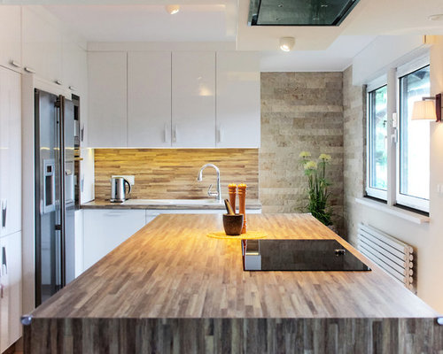 Ideen Für Geschlossene, Mittelgroße Moderne Küchen Mit Kücheninsel,  Einbauwaschbecken, Flächenbündigen Schrankfronten, Weißen