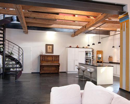 gro e wohnzimmer mit schieferboden ideen f rs einrichten. Black Bedroom Furniture Sets. Home Design Ideas