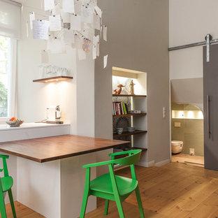 Foto di una piccola cucina ad ambiente unico minimal con elettrodomestici in acciaio inossidabile, pavimento in legno massello medio e una penisola