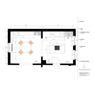 ドルトムントの小さいエクレクティックスタイルのおしゃれなキッチン (アンダーカウンターシンク、フラットパネル扉のキャビネット、緑のキャビネット、ラミネートカウンター、大理石のキッチンパネル、パネルと同色の調理設備、セメントタイルの床、白いキッチンカウンター) の写真