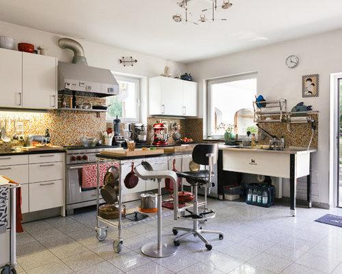 Offene, Große Stilmix Küchen In L Form Mit Doppelwaschbecken,  Flächenbündigen Schrankfronten, Weißen