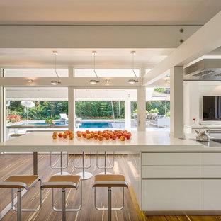Offene, Große Moderne Küche in L-Form mit flächenbündigen Schrankfronten, weißen Schränken, Mineralwerkstoff-Arbeitsplatte, Kücheninsel, Rückwand-Fenster, weißer Arbeitsplatte und braunem Holzboden in Stuttgart