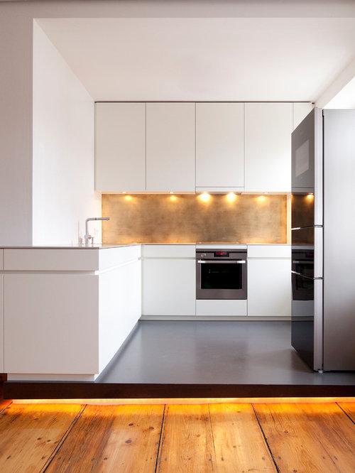 cuisine avec une cr dence m tallis e et un sol en linol um photos et id es d co de cuisines. Black Bedroom Furniture Sets. Home Design Ideas