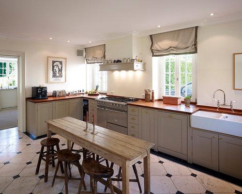 kuchenherd im landhausstil design ideen holz, landhausstil wohnküchen mit schrankfronten im shaker-stil ideen, Design ideen