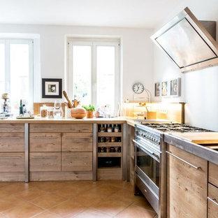Landhausstil Kuchen Mit Terrakottaboden Ideen Design Bilder Houzz
