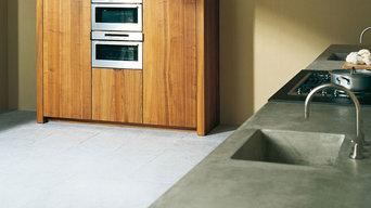 Küchen mit einer Arbeitsplatte aus Beton