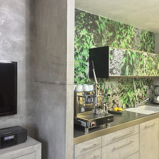 Design ideas for a contemporary single-wall kitchen in Munich with grey cabinets and multi-coloured splashback.