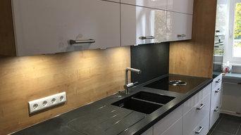 Kunden Küchenzeile mit Granit und Bora Dunstabzug