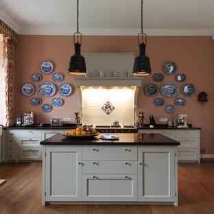 Large Farmhouse Open Concept Kitchen Appliance   Inspiration For A Large  Farmhouse L Shaped Medium
