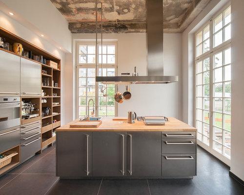 küchen mit schrankfronten aus edelstahl ideen & bilder - Edelstahl Arbeitsplatte Küche