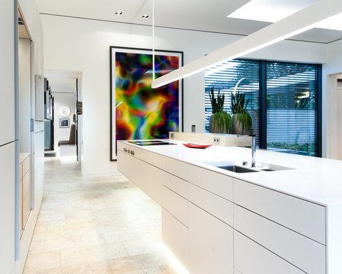 luxusk che k cheninsel nahtlos aus mineralwerkstoff. Black Bedroom Furniture Sets. Home Design Ideas