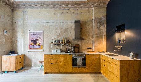 Houzz Германия: Кухня с ободранными стенами