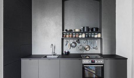Ton in Ton – eine Berliner Miniküche in Graphitgrau