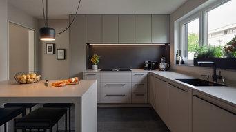 Minimalistische SieMatic Küche in dezentem Grau
