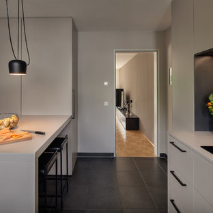 Large Modern Open Concept Kitchen Photos   Large Minimalist L Shaped Cement  Tile Floor And