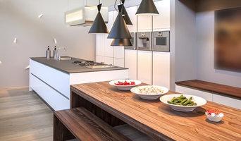 Moderne Küche mit großer Kücheninsel