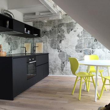 Moderner Küchenblock im Fachwerk