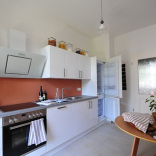 Inspiration for a small contemporary single-wall separate kitchen in Other with a drop-in sink, flat-panel cabinets, white cabinets, laminate benchtops, glass sheet splashback, stainless steel appliances, marble floors, no island and white floor.