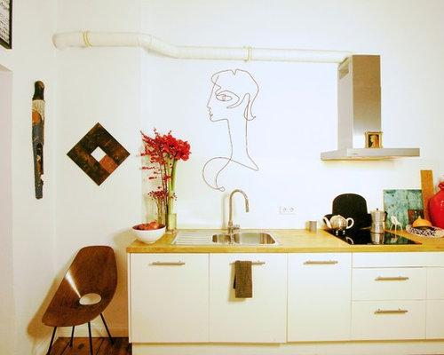 Eklektische Küchen mit weißen Schränken Ideen, Design & Bilder | Houzz