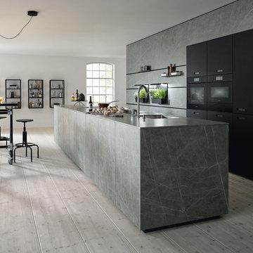NX 950 Ceramic Marmor Grigio Nachbildung / Glas matt onyxschwarz