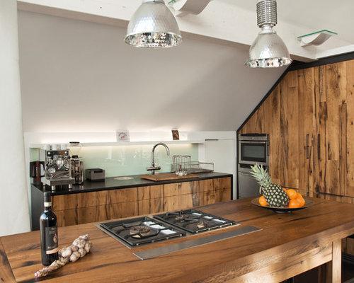 eclectic open concept kitchen designs example of an eclectic l shaped open concept kitchen - Glass Sheet Kitchen Design
