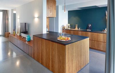 Perfekte Verbindung: Elegante Holztöne für Küche und Wohnzimmer