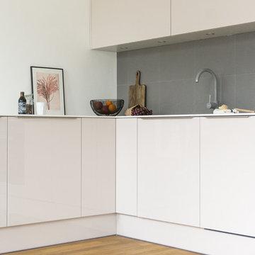 Powder Coloured Kitchen – Angled View