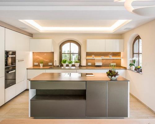 Cucina con pavimento in pietra calcarea lipsia foto e idee per