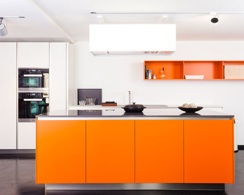 70 Large Kitchen with Orange Cabinets Design Ideas & Remodel Pictures   Houzz