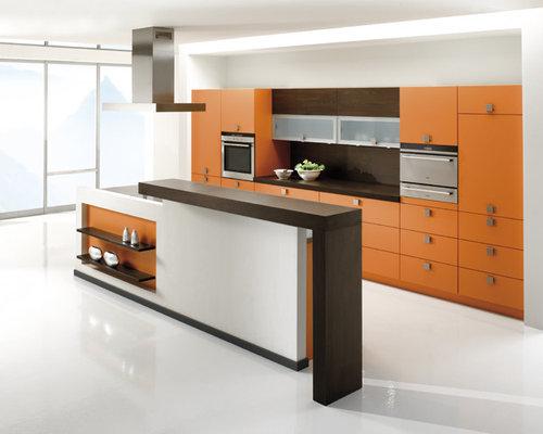 Kitchen with brown splashback and orange cabinets design for Brown and orange kitchen ideas