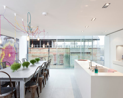 Trendy Galley Eat In Kitchen Photo In London With An Integrated Sink, Flat