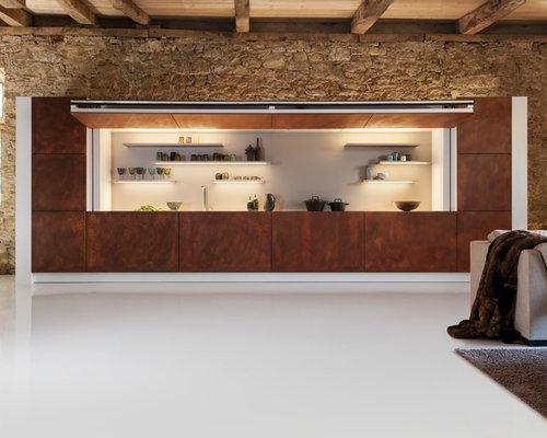 hidden kitchen design. Mountain style white floor kitchen photo in Other Hidden Kitchen  Houzz