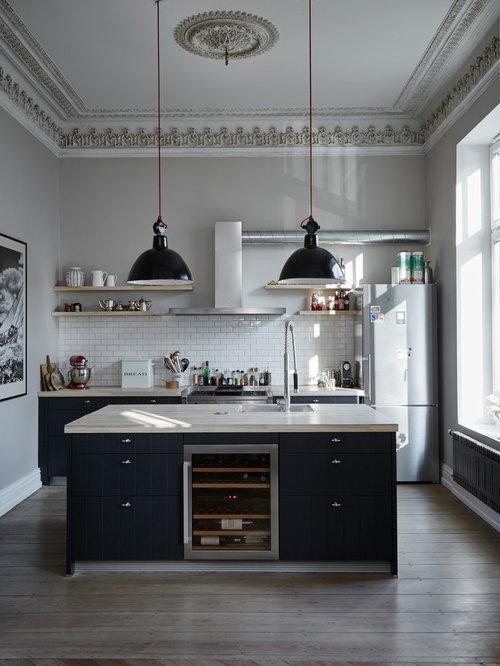 Moderne Küchen mit Rückwand aus Metrofliesen Ideen, Design & Bilder ...