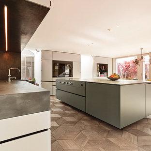 ミュンヘンの巨大なコンテンポラリースタイルのおしゃれなキッチン (アンダーカウンターシンク、フラットパネル扉のキャビネット、グレーのキャビネット、コンクリートカウンター、黒い調理設備、無垢フローリング) の写真