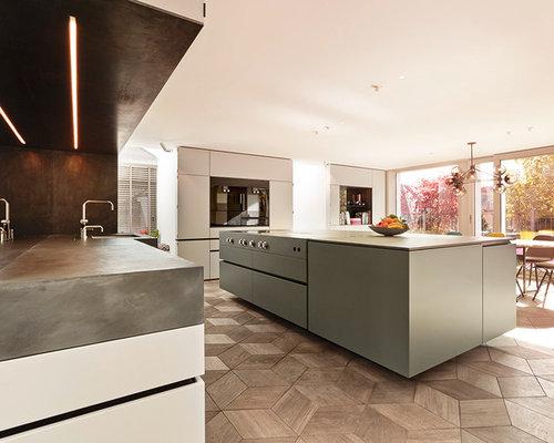 küchen mit betonarbeitsplatte und kücheninsel ideen & bilder - Küche Betonarbeitsplatte
