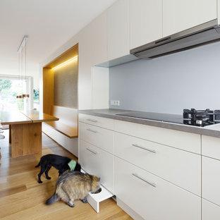 Offene, Mittelgroße Moderne Küche ohne Insel mit flächenbündigen Schrankfronten, weißen Schränken, Küchenrückwand in Grau und braunem Holzboden in Sonstige