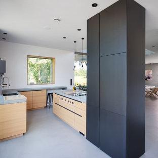 Inspiration för ett mycket stort funkis grå grått kök med öppen planlösning, med en integrerad diskho, släta luckor, svarta skåp, bänkskiva i betong, svart stänkskydd, stänkskydd i skiffer, rostfria vitvaror, betonggolv, en köksö och grått golv