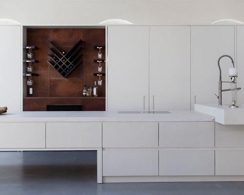 Fußboden Aus Mineralwerkstoff ~ Küchen mit mineralwerkstoff arbeitsplatte und betonboden ideen