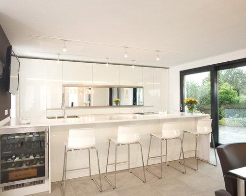 zweizeilige küchen mit porzellan-bodenfliesen ideen & bilder - Küche Zweizeilig