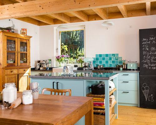 Orange kitchen with turquoise cabinets design ideas - Turquoise and orange kitchen ...